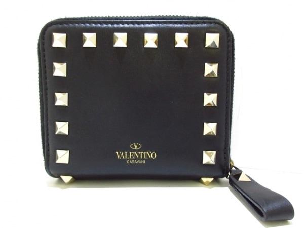 バレンチノガラバーニ 2つ折り財布美品  ロックスタッズ LW2P0649BOL 黒×ゴールド