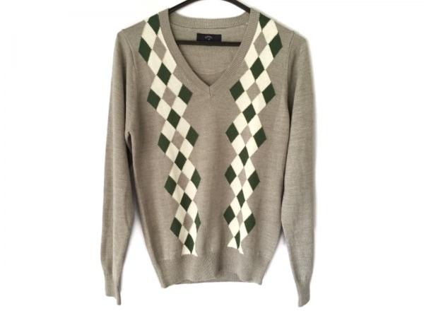 キャロウェイ 長袖セーター サイズM レディース美品  ライトグレー×白×グリーン