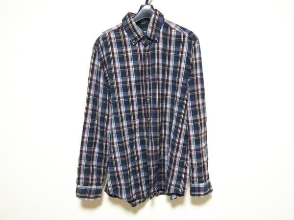 ヒューゴボス 長袖シャツ サイズL メンズ ダークネイビー×グレー×マルチ チェック柄