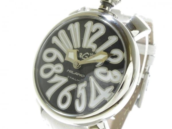 ガガミラノ 腕時計美品  マヌアーレ40 5020.4 メンズ 革ベルト/型押し加工 黒×白