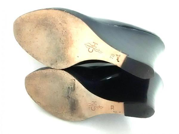 コールハーン パンプス 7B レディース 黒 ウェッジソール エナメル(レザー)