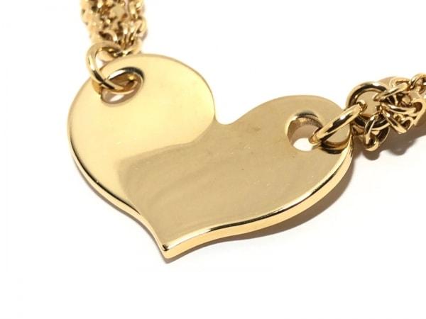 フォリフォリ ネックレス美品  金属素材 ゴールド ハート/ラインストーン
