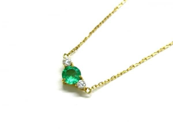 ノーブランド ネックレス美品  K18×ダイヤモンド×カラーストーン クリア×グリーン