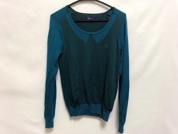 フレッドペリー 長袖セーター サイズM レディース美品  グリーン×ダークグリーン