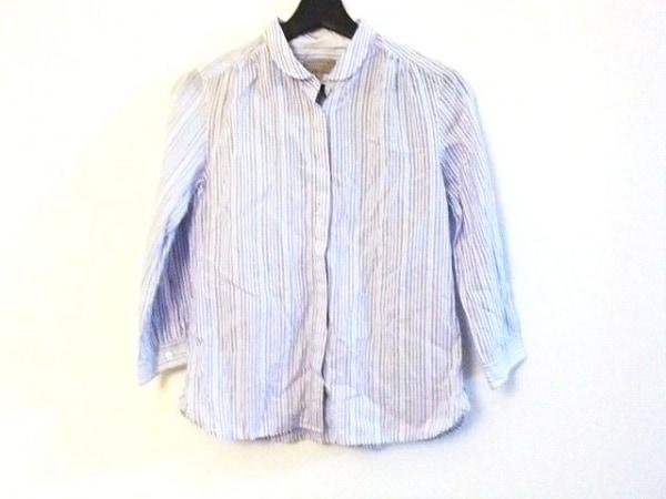 マーガレットハウエル 七分袖シャツブラウス サイズ2 M レディース 白×ライトブルー