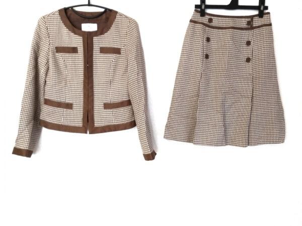 クレージュ スカートスーツ サイズ38 M レディース ベージュ×ブラウン 千鳥格子