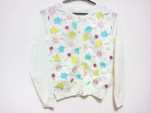 CHERRY ANN(チェリーアン) カーディガン レディース 白×ピンク×マルチ 花柄/レース