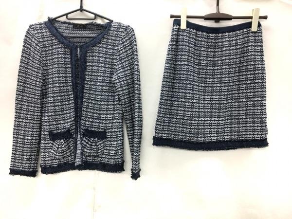 ef-de(エフデ) スカートスーツ サイズ9 M レディース美品  ダークネイビー×白 ラメ