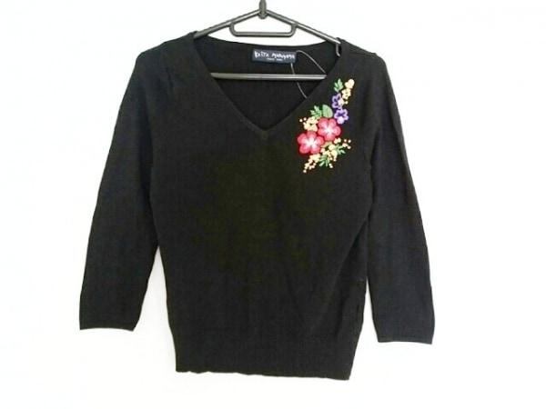 ケイタマルヤマ 七分袖セーター サイズ1 S レディース 黒 フラワー/刺繍