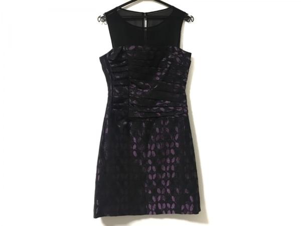 マックスアンドクレオ ドレス サイズ4 XL レディース新品同様  黒×パープル