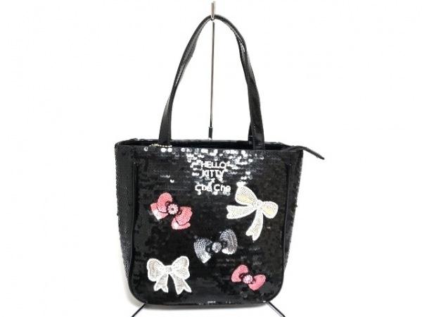 チチ ハンドバッグ 黒×マルチ ハローキティ/リボン スパンコール×エナメル(合皮)