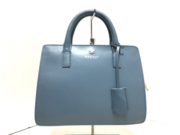 Modalu(モダルー) ハンドバッグ美品  JASMIN mini grab MH5122 ブルー レザー