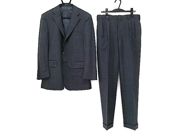 ジェイプレス シングルスーツ メンズ グレー×ライトブルー チェック柄/ネーム刺繍