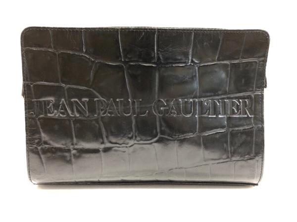 JeanPaulGAULTIER(ゴルチエ) セカンドバッグ 黒 型押し加工 レザー
