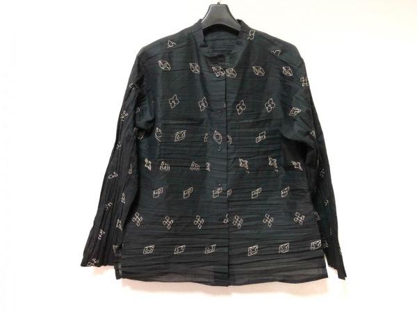 ハート 長袖シャツブラウス サイズ2 M レディース 黒×ベージュ プリーツ/刺繍