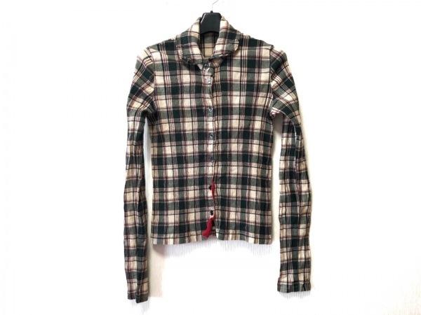 ツモリチサト 長袖シャツブラウス サイズ2 M レディース グリーン×マルチ チェック柄