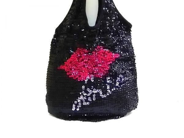 ソニアリキエル トートバッグ 黒×ピンク×シルバー スパンコール×化学繊維
