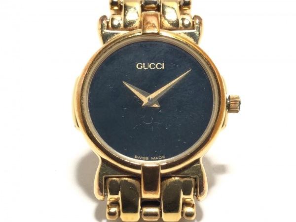 GUCCI(グッチ) 腕時計美品  3400L レディース シェル文字盤 黒