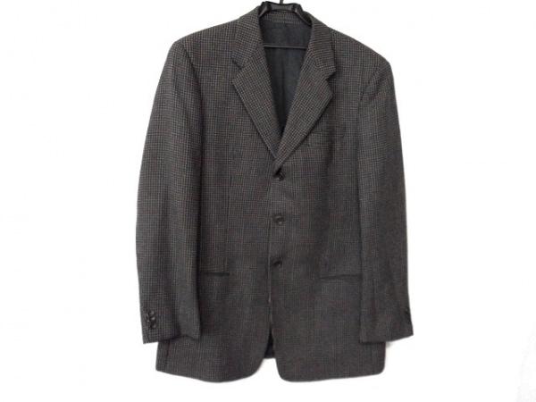 ARMANI(アルマーニ) ジャケット サイズ52R メンズ グレージュ×グレー×白 チェック柄