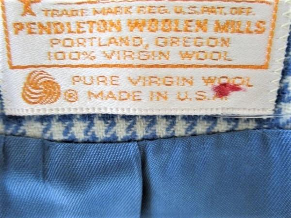 ペンドルトン ジャケット サイズ10 L レディース アイボリー×ブルー チェック柄