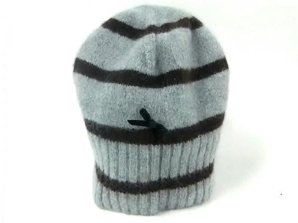 PaulSmith(ポールスミス) ニット帽 グレー×ダークブラウン ボーダー/リボン ウール