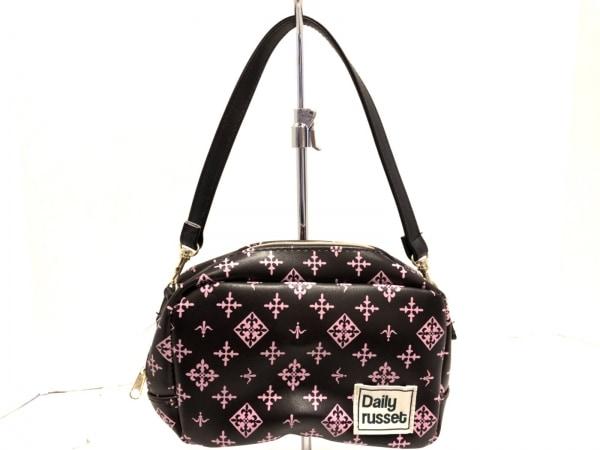 Daily russet(デイリーラシット) ハンドバッグ美品  ダークブラウン×ピンク 合皮