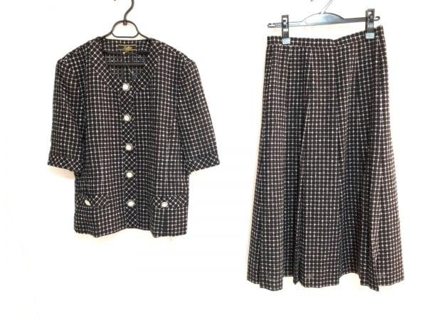 Leilian(レリアン) スカートスーツ サイズ11 M レディース美品  黒×白 チェック柄