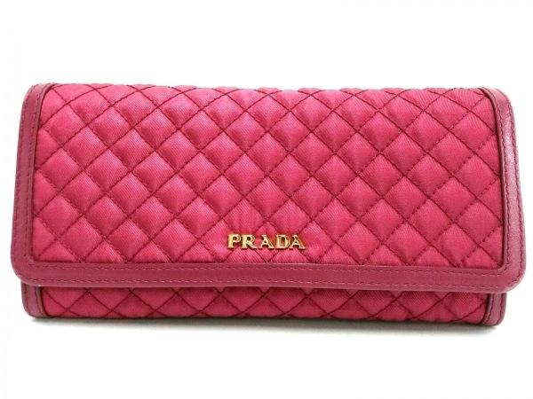 PRADA(プラダ) 長財布 - 1M1132 ボルドー キルティング ナイロン×レザー