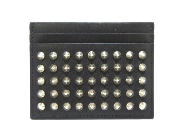 クリスチャンルブタン カードケース美品  黒×シルバー レザー×金属素材