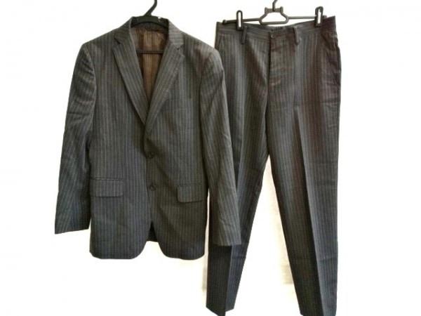 JUN MEN(ジュンメン) シングルスーツ サイズS メンズ 黒×ライトグレー ストライプ