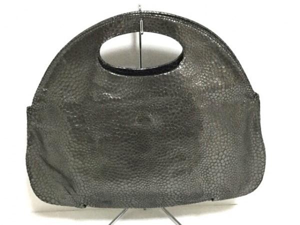 HIROKO HAYASHI(ヒロコハヤシ) ハンドバッグ シルバー 型押し加工 レザー