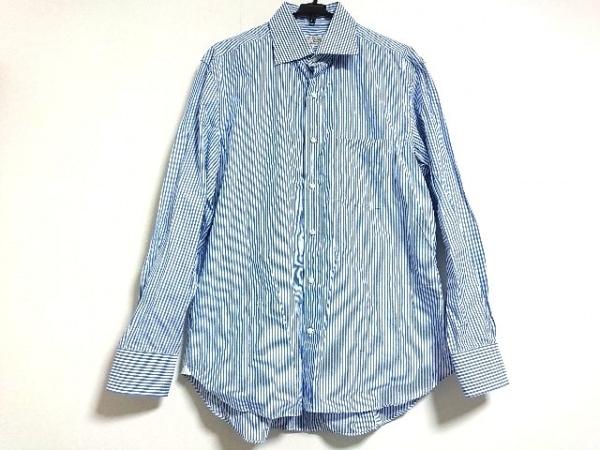 アドリアーノチフォネリ 長袖シャツ サイズ44 L メンズ新品同様  ネイビー×白