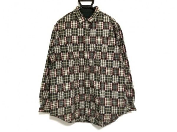 Papas(パパス) 長袖シャツ サイズM メンズ グリーン×レッド×マルチ チェック柄