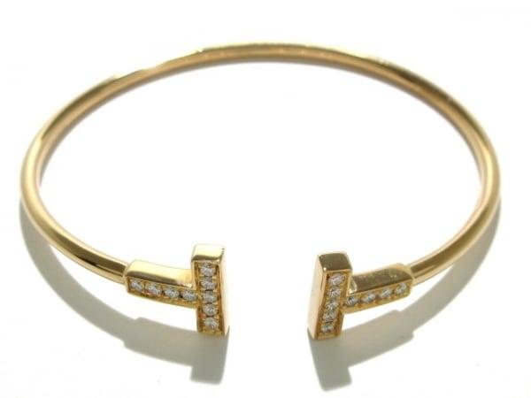 ティファニー バングル美品  Tワイヤーブレスレット K18PG×ダイヤモンド