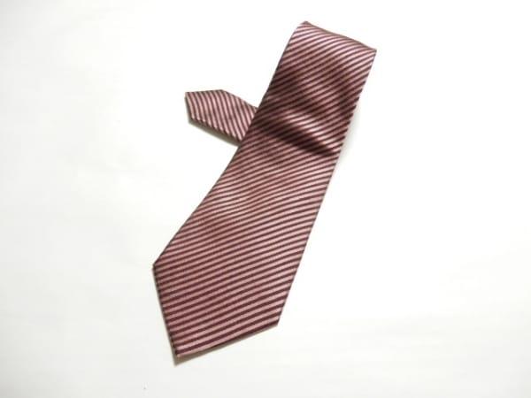 ジョルジオアルマーニ ネクタイ メンズ美品  ピンク×ダークブラウン ストライプ