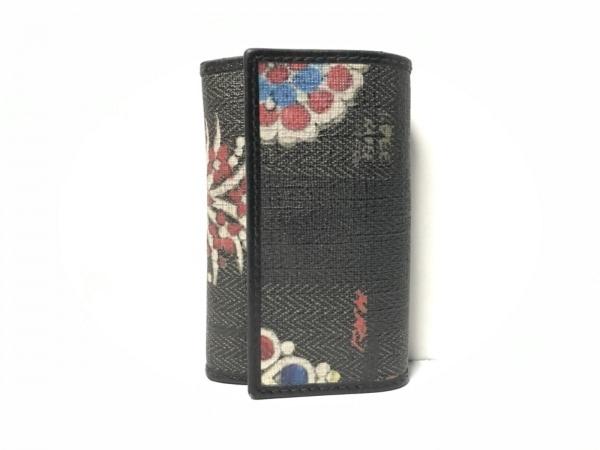 BVLGARI(ブルガリ) キーケース - ダークグリーン×黒×レッド×マルチ 6連フック/花柄
