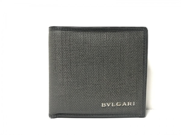 BVLGARI(ブルガリ) 2つ折り財布 - ダークグリーン×黒 PVC(塩化ビニール)×レザー