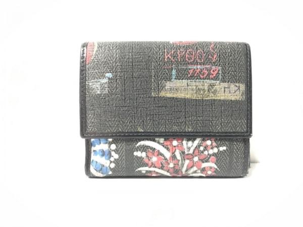 BVLGARI(ブルガリ) Wホック財布 - ダークグリーン×黒×白×マルチ 花柄