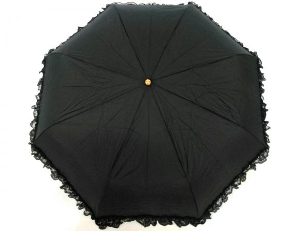 Pinky Girls(ピンキーガールズ) 折りたたみ傘美品  黒×ピンク ナイロン×レザー