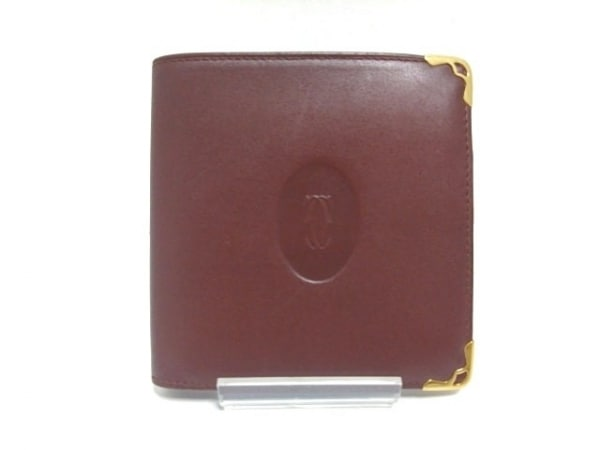 Cartier(カルティエ) 2つ折り財布 マストライン ボルドー レザー