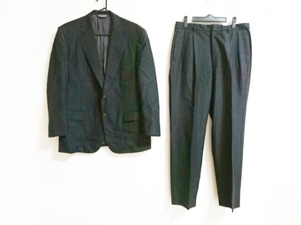 ブルックスブラザーズ シングルスーツ メンズ 黒×アイボリー 肩パッド/ストライプ