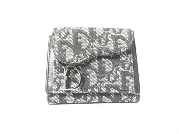 クリスチャンディオール 3つ折り財布 ロゴグラム アイボリー×黒 ジャガード×レザー