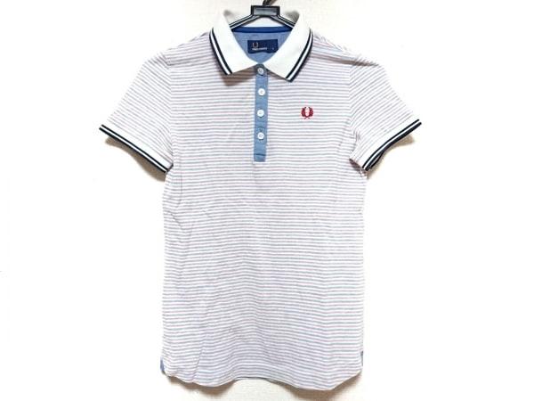 フレッドペリー 半袖ポロシャツ サイズS レディース 白×ブルー×レッド ボーダー
