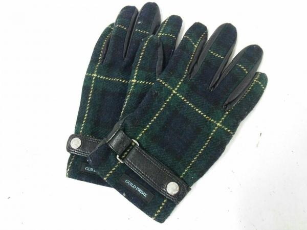 ギルドプライム 手袋 メンズ グリーン×ネイビー×マルチ チェック柄 ウール×レザー