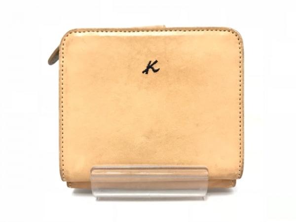 KITAMURA(キタムラ) 2つ折り財布 ベージュ×黒 レザー
