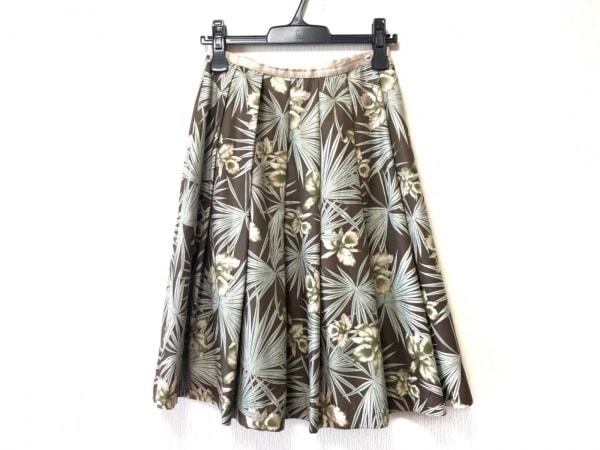 ロイスクレヨン スカート サイズM レディース美品  ブラウン×グリーン×マルチ 花柄