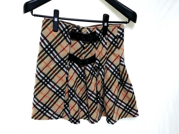 バーバリーブルーレーベル 巻きスカート サイズ36 S レディース ベージュ×黒×マルチ