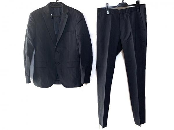 nano universe(ナノユニバース) シングルスーツ サイズ44 L メンズ 黒×グレー