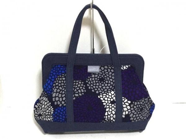 SOU・SOU(ソウソウ) トートバッグ美品  黒×パープル×マルチ 花柄 キャンバス