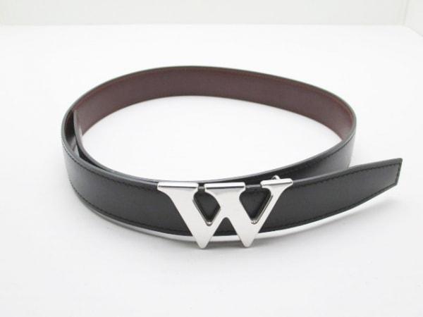 J.M. WESTON(ジェイエムウェストン) ベルト 黒×シルバー レザー×金属素材